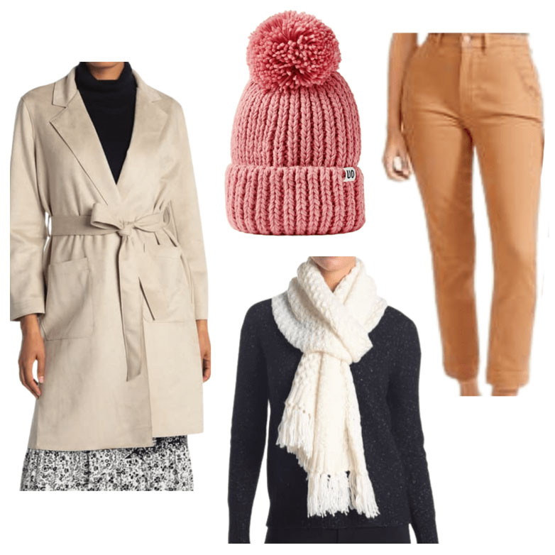 Dublin outfit, with long coat, hat, scarf and trousers.