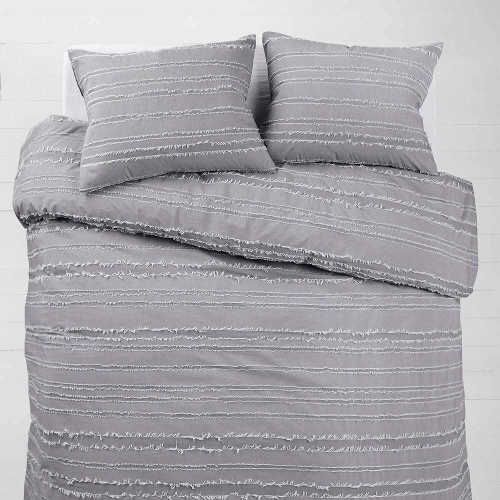 Cute dorm bedding - gray eyelash comforter set from Dormify