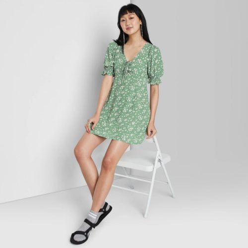 Target puff sleeve green dress for St Patricks' Day