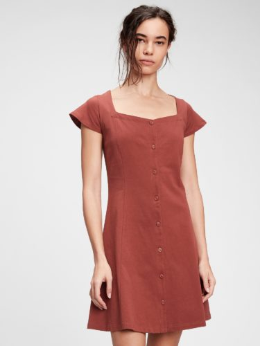 Gap Button Front Flare Dress