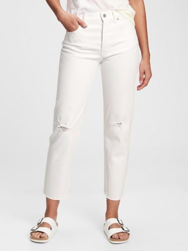 Gap High Rise Destructed Straight Jeans