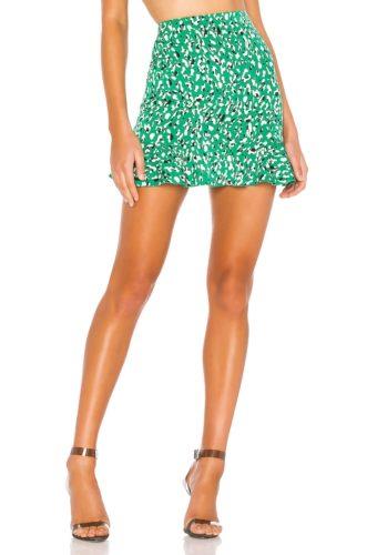 Revolve Superdown Green Leopard Print Mini Skirt