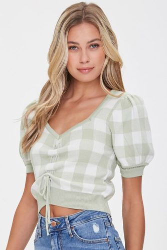 Forever 21 Sweater Knit Plaid Top