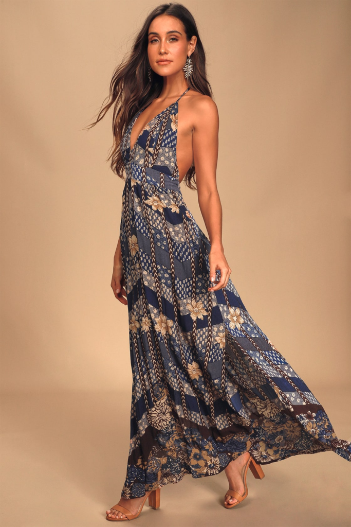 Blue patchwork print maxi dress from Lulus