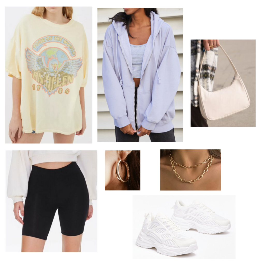 How to style the shoulder bag trend: Outfit idea with black bike shorts, oversized tee, lavender oversized hoodie, white shoulder bag