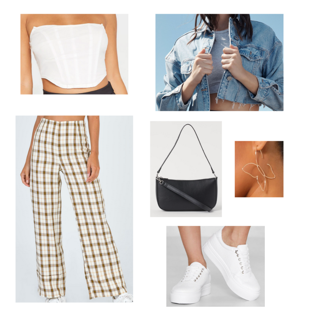 Cute outfit idea for a mini shoulder bag: Wide leg plaid pants, white cropped corset top, cropped denim jacket, black mini bag, chunky white sneakers, butterfly earrings
