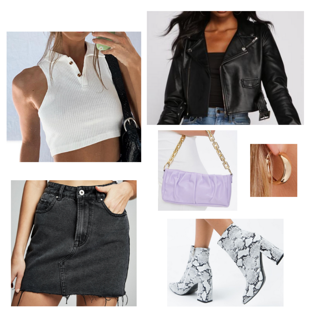 How to wear a mini shoulder bag: Outfit idea with black mini skirt, white crop top, faux leather jacket, chunky ankle boots, purple chain detail mini bag, gold hoops