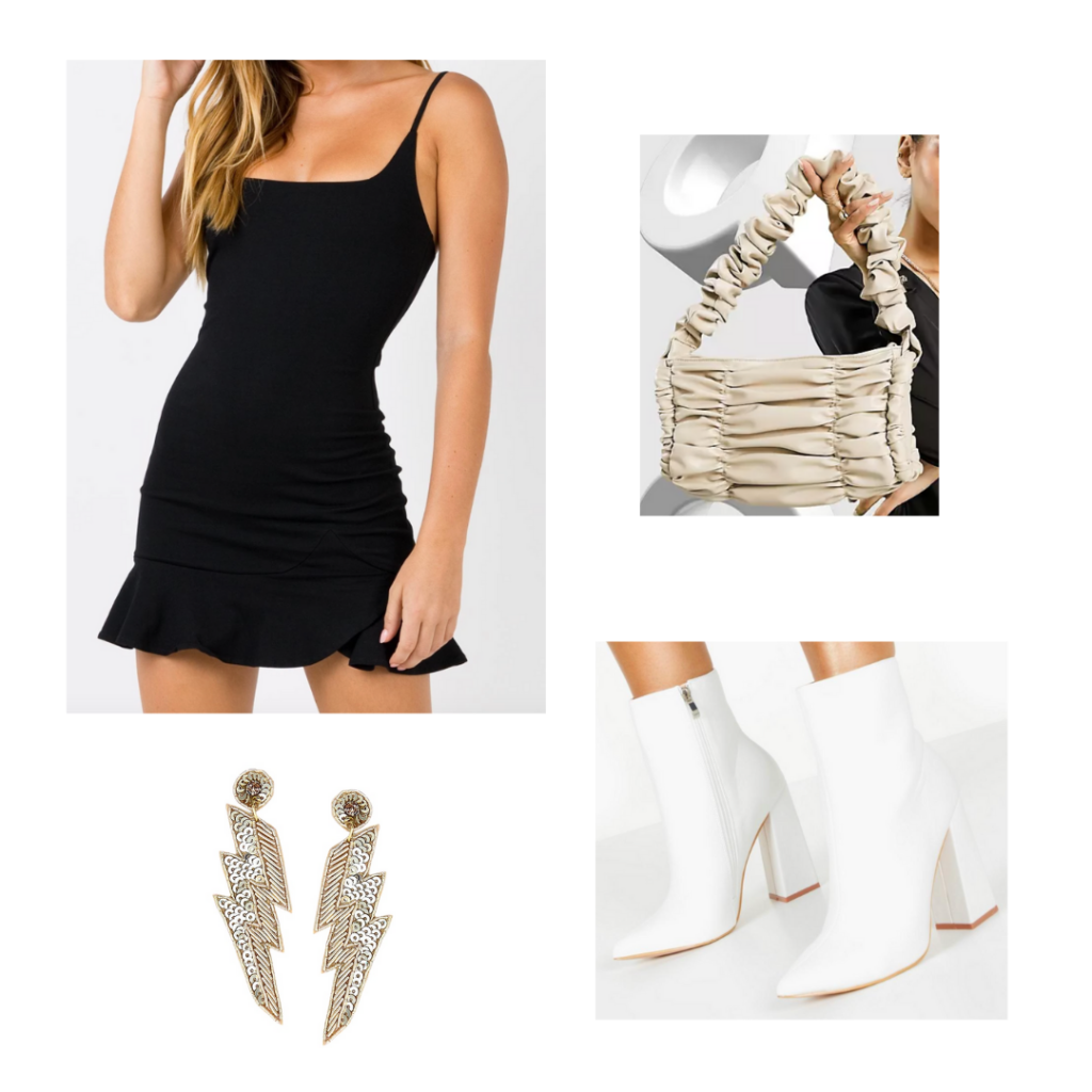 Cute mini shoulder bag trend outfit with white ankle boots, black mini dress, ruffled mini shoulder bag, lightning bolt earrings