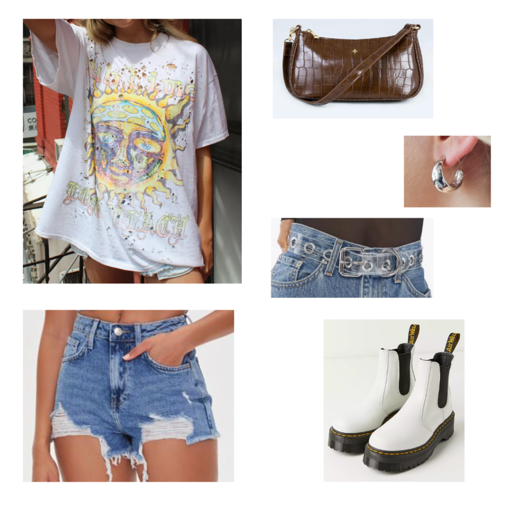 How to wear the shoulder bag trend: Cute outfit idea with ripped denim shorts, oversized band tee, combat boots, clear belt, brown croc mini shoulder bag, silver hoops