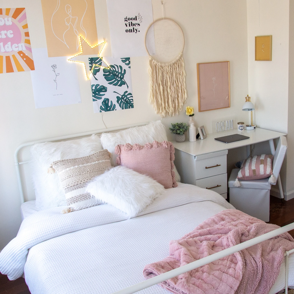 Pink dorm room from Dormify