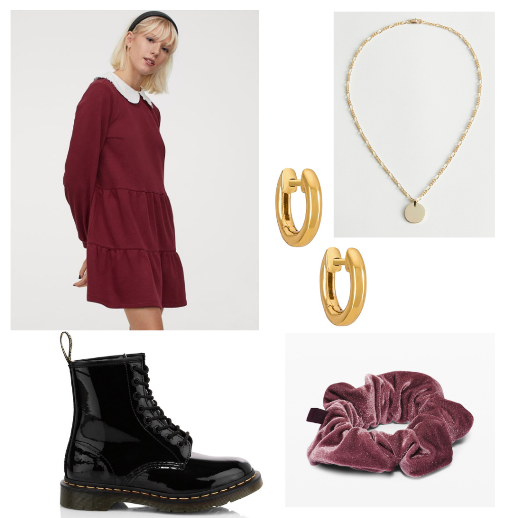 Outfit inspired by Dua Lipa's 1960s style with statement collar dress, velvet scrunchie, combat boots, gold jewelry