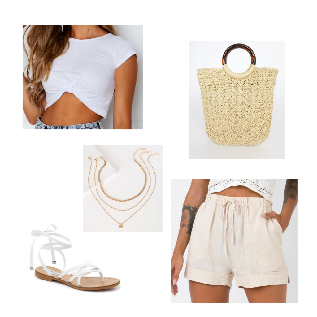 Vacation outfit for 2021: Beige linen shorts, white knot front crop top, layered gold necklaces, white lace-up sandals, woven bag