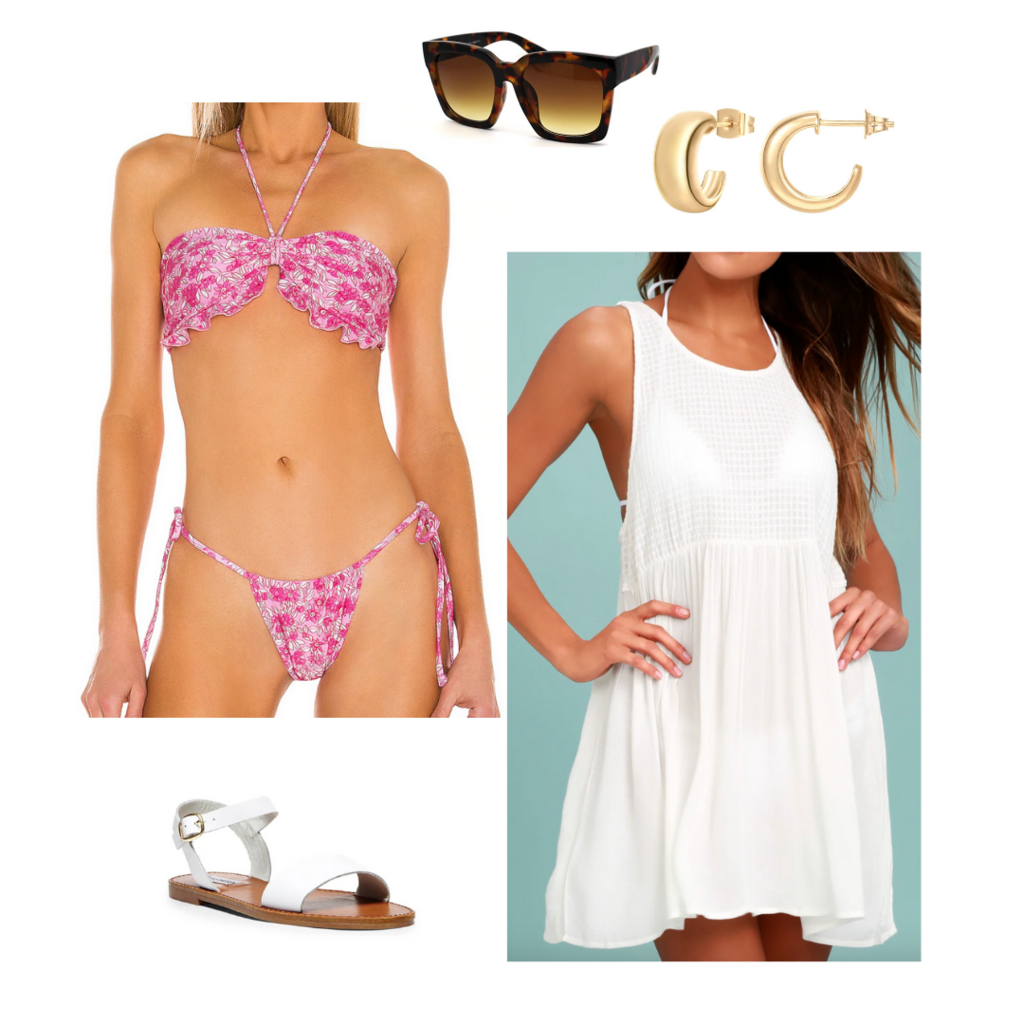 Vacation outfit 2021: Pink bikini, oversized swim cover-up, big sunglasses, mini hoop earrings, simple white sandals