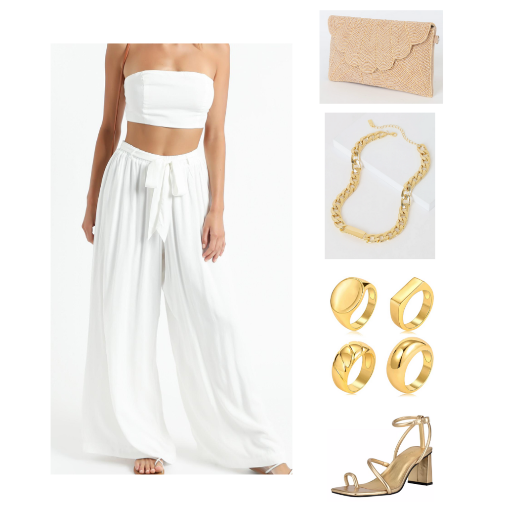 Vacation outfit: Wide leg pants and crop top set, gold jewelry, woven clutch