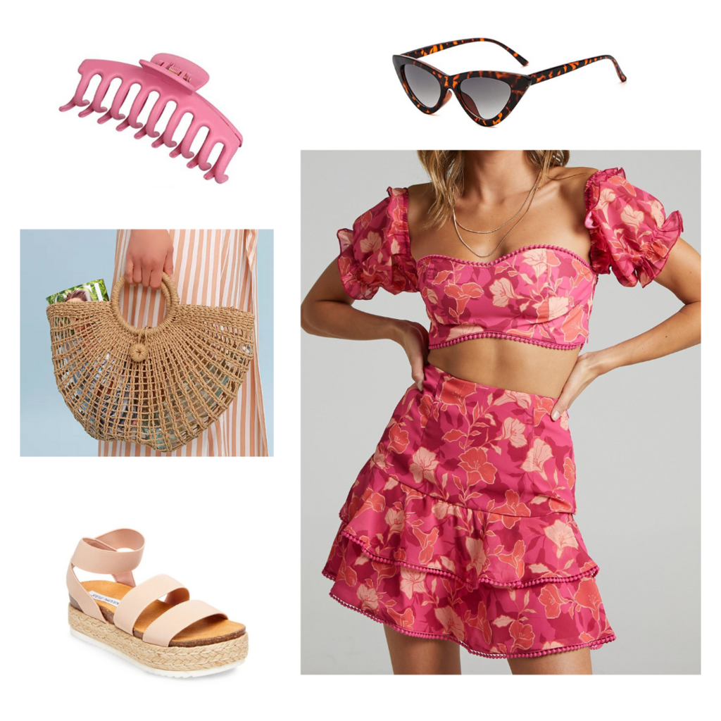 Vacation outfit for 2021 with floral two-piece set, platform espadrille sandals, woven bag, pink claw clip, tortoiseshell cat eye sunglasses
