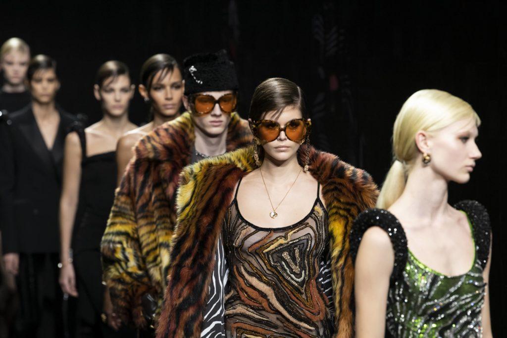 Kaia Gerber walking the Versace FW 2020 runway at Milan Fashion Week