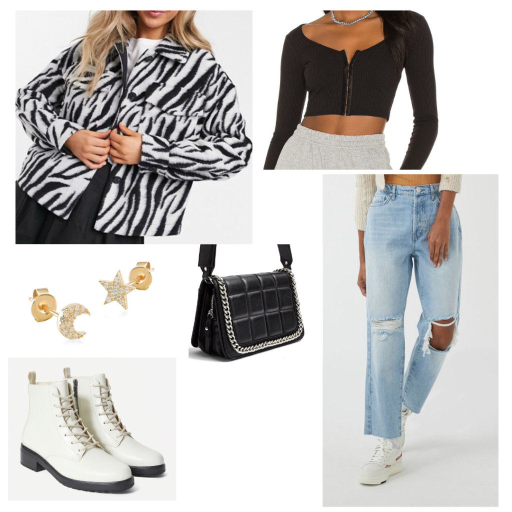 Outfit 3: zebra print workwear coat, black bustier top with long sleeves, distressed boyfriend jeans, white lace-up booties, black purse