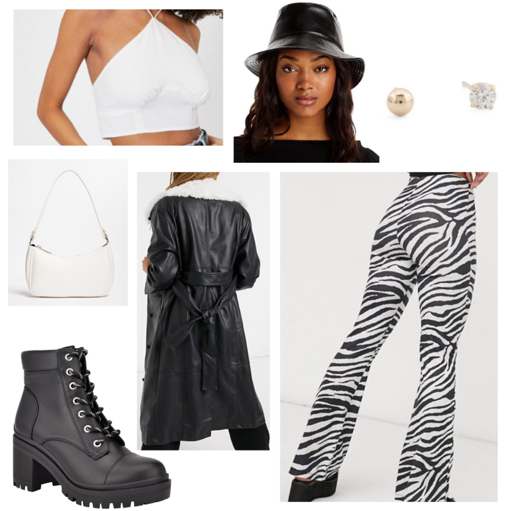 Outfit 2: zebra print stretchy bell bottom pants, white halter crop top, black leather trench jacket, leather bucket hat, white accessories