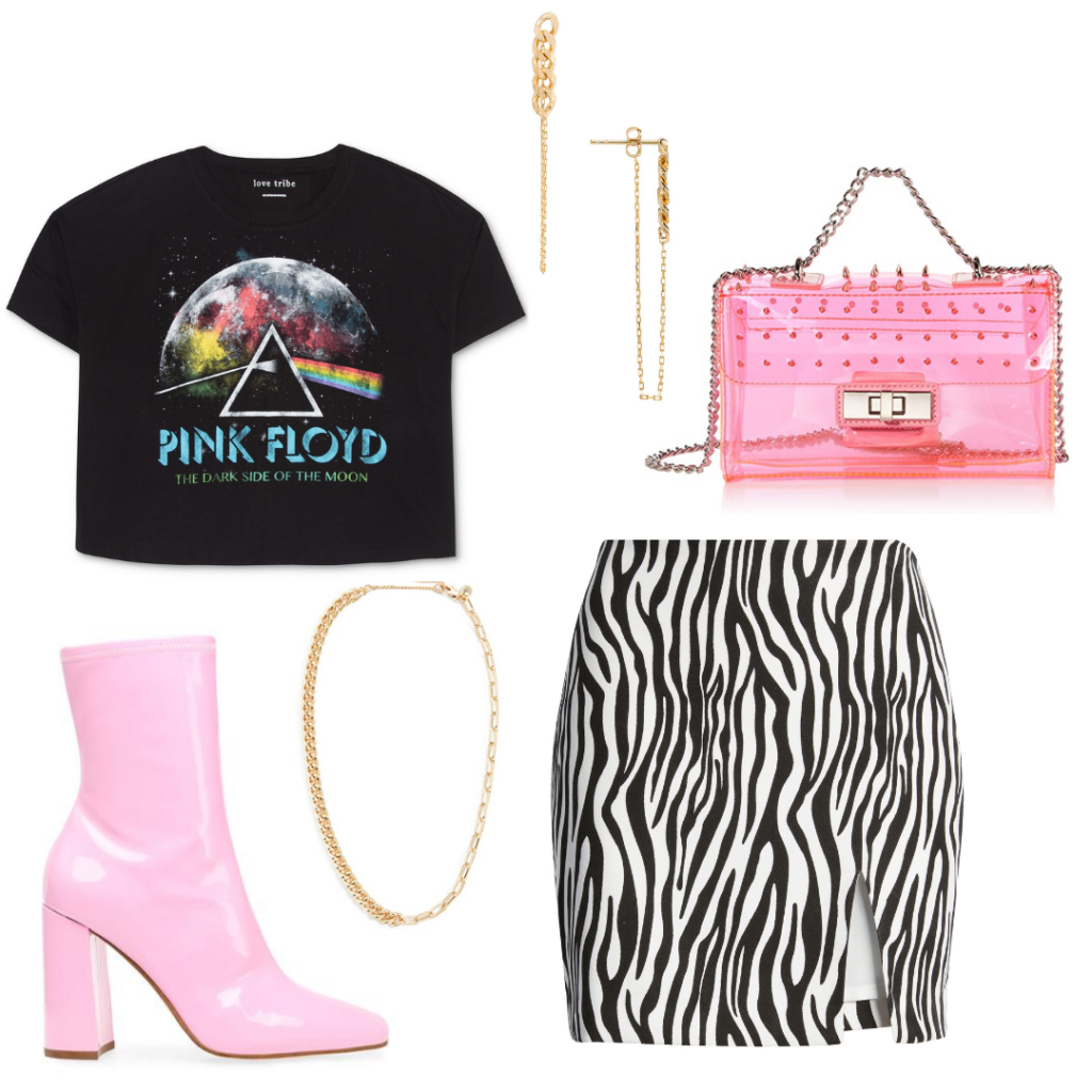 Outfit 4: zebra print a-line skirt with slit, printed Pink Floyd crop top, translucent pink bag with chain strap, pink booties