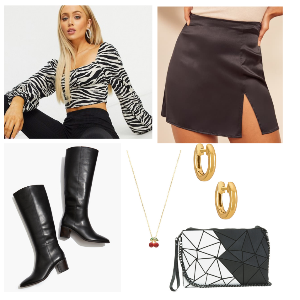 Outfit 1: zebra print crop top with flowy sleeves, black satin a-line skirt with slit, black boots with a chunky heel, gold jewelry