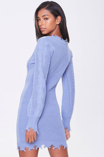 Periwinkle blue distressed sweater mini dress