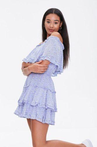 Purple floral off shoulder dress