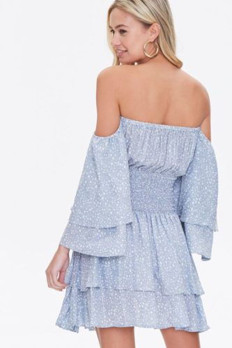 Blue ruffle printed off the shoulder dress