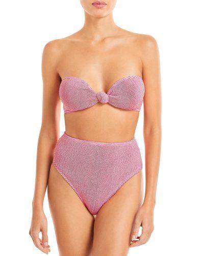 Pink layered mesh bikini