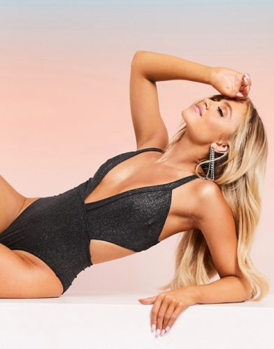 Black shimmer fabric cutout one-piece bathing suit