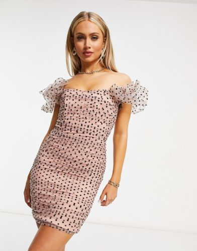 Off the shoulder dress with polka dots