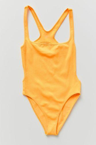 Orange one-piece bathing suit