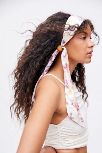 A floral hair scarf.