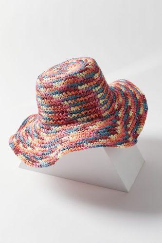 Multicolored crochet sun hat.