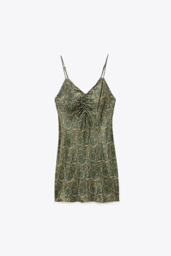 Zara printed satin slip dress