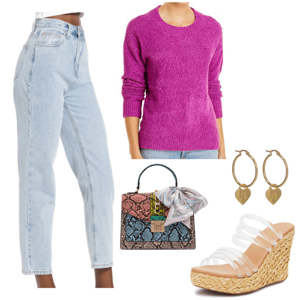 Outfit inspired by Georgia from Ginny and Georgia with platform wedges, high waisted jeans, magenta sweater, patterned bag, gold earrings