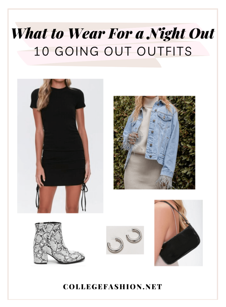 Header Image: What to Wear for a Night Out, 10 Going Out Outfits with a sample outfit set - denim jacket, black dress, snakeskin boots