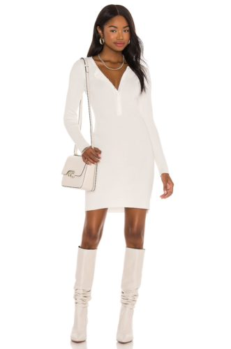 White button front sweater dress