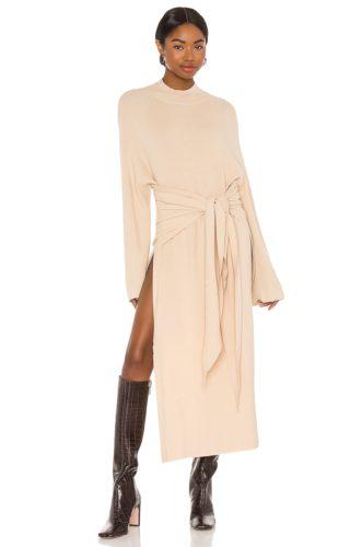 Long sleeve sweater maxi dress in beige with wrap tie waist
