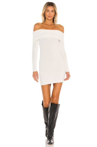 White off shoulder mini dress with long sleeves