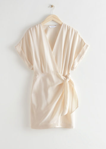 & Other Stories beige wrap dress