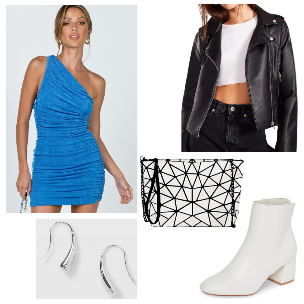 College formal outfit: one shoulder blue ruched dress, faux leather moto jacket, edgy black and white geometric purse, white chunky heeled booties
