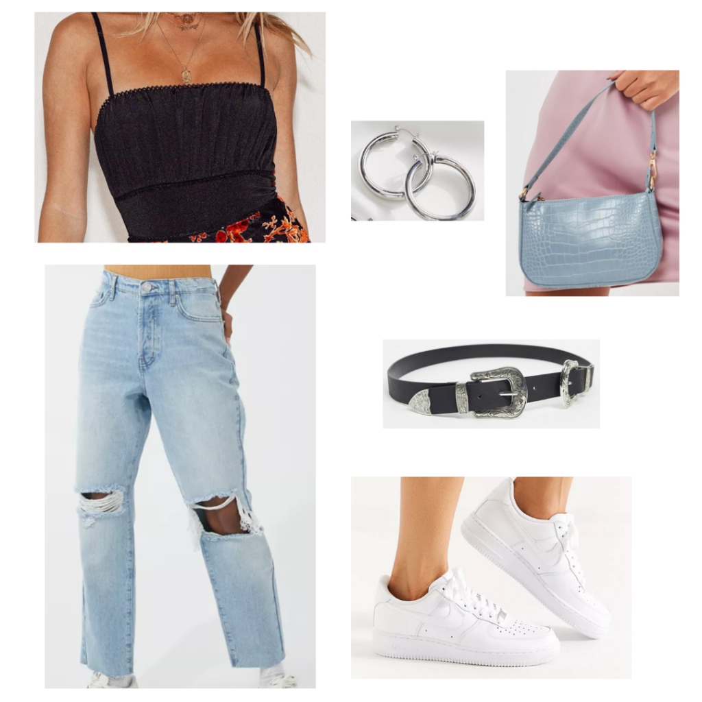 Sample Outfit: ruched black top, distressed mom jeans, white sneakers, black western belt, baby blue snakeskin plan