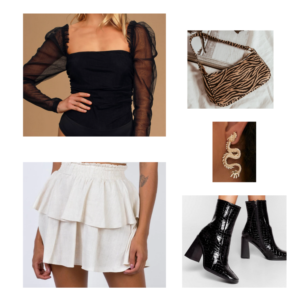 Going Out Outfit: black bodysuit with sheer sleeves, ruffled cream skirt with elastic waistband, dragon earrings, croc black booties
