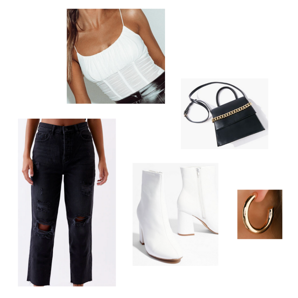 Sample Outfit: white ruched top, black distressed mom jeans, white chunky heeled booties, gold hoop earrings, black shoulder bag with gold chain detail