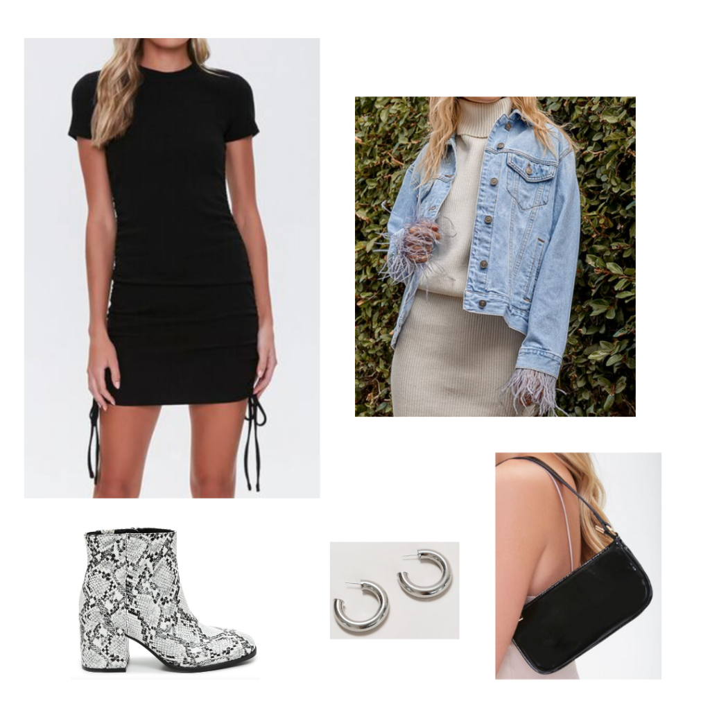 Going Out Outfit: black bodycon short sleeve dress, light wash denim jacket with feather details, snakeskin booties, black shoulder bag, silver hoop earrings