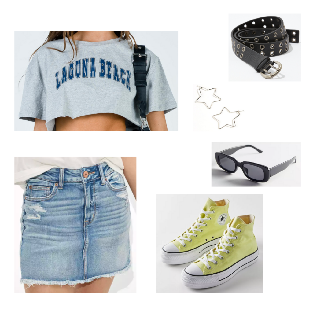 Sample Outfit: Laguna Beach cropped grey tee, blue denim skirt, yellow converse, black sunglasses