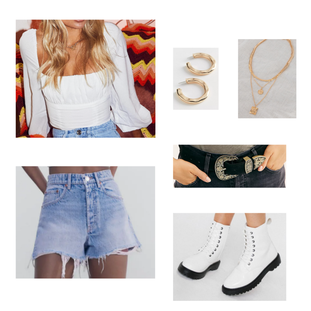 Going Out Outfit: white ruched top with peasant sleeves, blue denim shorts, white doc martens, black and gold western belt, gold jewelry