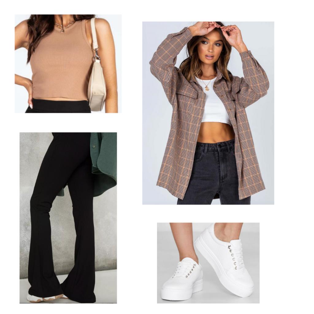 Sample Look: tan high-neck tank, plaid blazer, black flare jeans, white sneakers