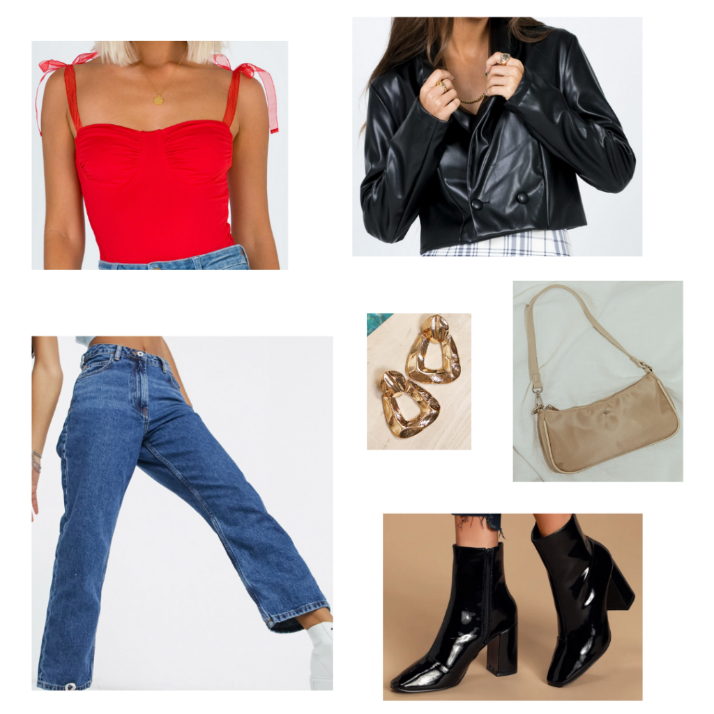 Sample Outfit: red sweetheart bodysuit, high-waisted cropped jeans, cropped leather jacket, chunky heeled patent booties, taupe shoulder bag
