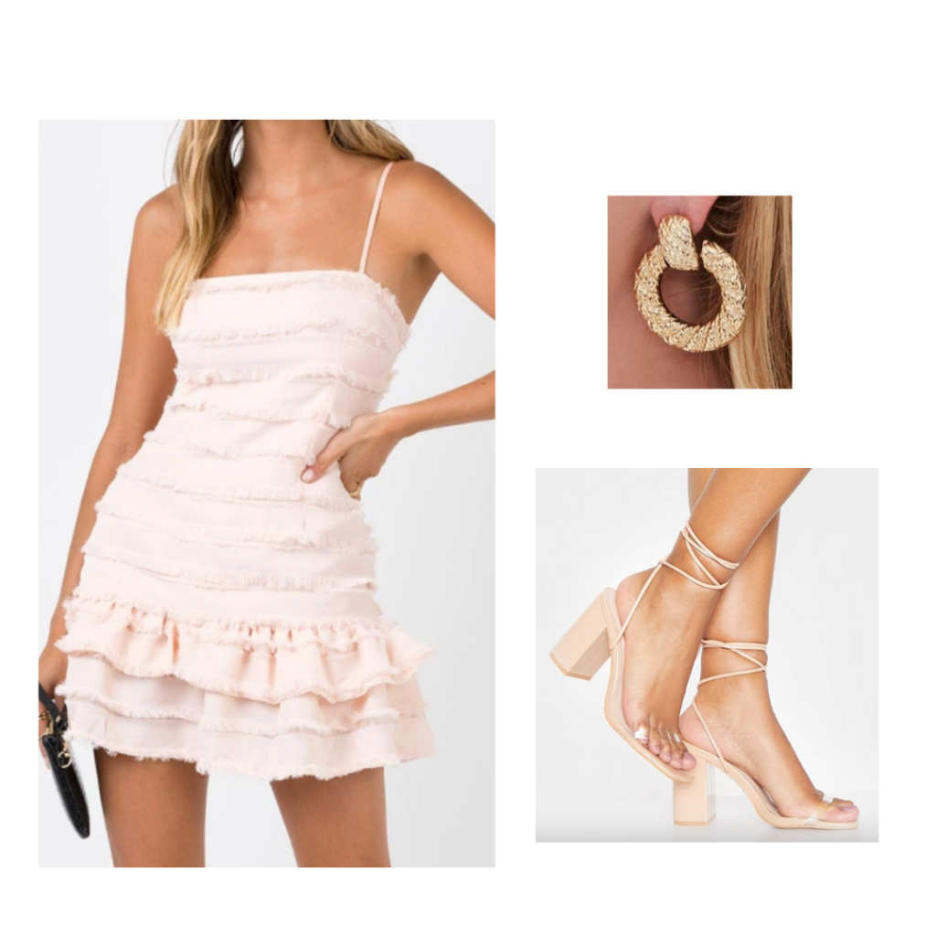 Sample Outfit: blush flouncy dress with fringe, strappy chunky heels, gold hoop earrings